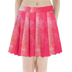 Abstract Red And Gold Ink Blot Gradient Pleated Mini Skirt