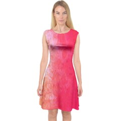Abstract Red And Gold Ink Blot Gradient Capsleeve Midi Dress