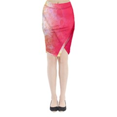Abstract Red And Gold Ink Blot Gradient Midi Wrap Pencil Skirt