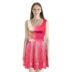 Abstract Red And Gold Ink Blot Gradient Split Back Mini Dress