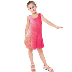 Abstract Red And Gold Ink Blot Gradient Kids  Sleeveless Dress
