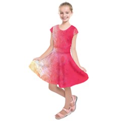 Abstract Red And Gold Ink Blot Gradient Kids  Short Sleeve Dress