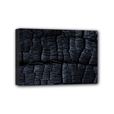 Black Burnt Wood Texture Mini Canvas 6  X 4
