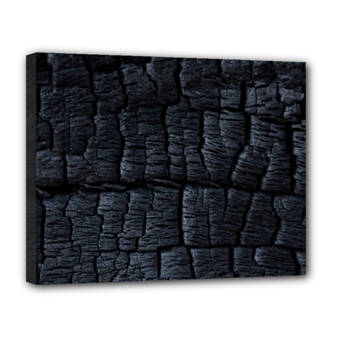 Black Burnt Wood Texture Canvas 14  X 11