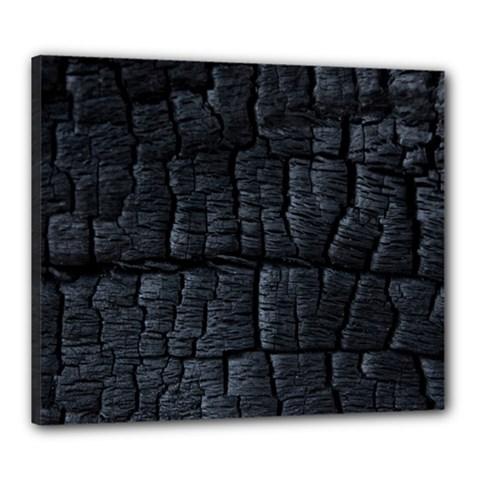 Black Burnt Wood Texture Canvas 24  X 20