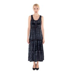 Black Burnt Wood Texture Sleeveless Maxi Dress