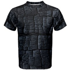 Black Burnt Wood Texture Men s Cotton Tee