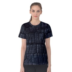 Black Burnt Wood Texture Women s Cotton Tee