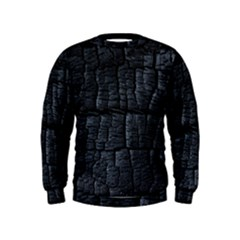Black Burnt Wood Texture Kids  Sweatshirt