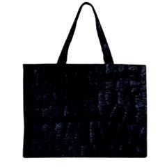 Black Burnt Wood Texture Zipper Mini Tote Bag