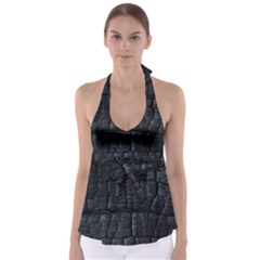 Black Burnt Wood Texture Babydoll Tankini Top