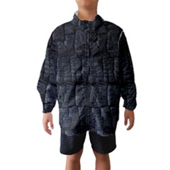 Black Burnt Wood Texture Wind Breaker (kids)