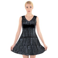 Black Burnt Wood Texture V-Neck Sleeveless Skater Dress
