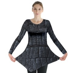 Black Burnt Wood Texture Long Sleeve Tunic