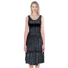 Black Burnt Wood Texture Midi Sleeveless Dress