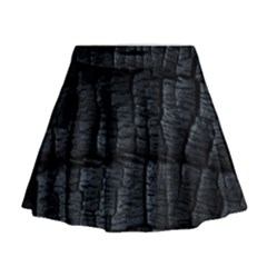 Black Burnt Wood Texture Mini Flare Skirt