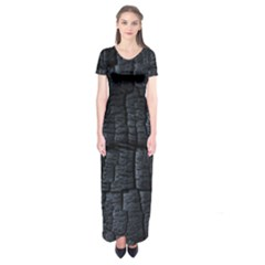 Black Burnt Wood Texture Short Sleeve Maxi Dress