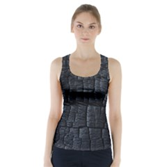 Black Burnt Wood Texture Racer Back Sports Top