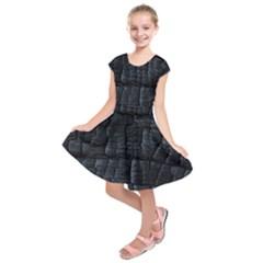 Black Burnt Wood Texture Kids  Short Sleeve Dress