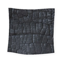 Black Burnt Wood Texture Square Tapestry (small)