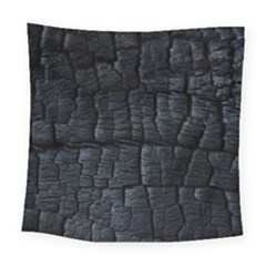 Black Burnt Wood Texture Square Tapestry (large)
