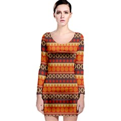 Abstract Lines Seamless Art  Pattern Long Sleeve Bodycon Dress
