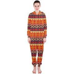 Abstract Lines Seamless Art  Pattern Hooded Jumpsuit (ladies)