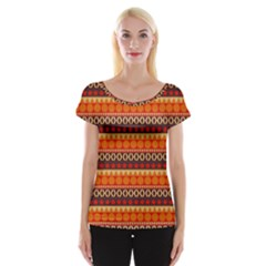 Abstract Lines Seamless Art  Pattern Women s Cap Sleeve Top