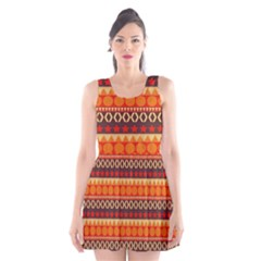 Abstract Lines Seamless Art  Pattern Scoop Neck Skater Dress