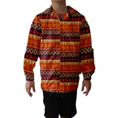 Abstract Lines Seamless Art  Pattern Hooded Wind Breaker (Kids)