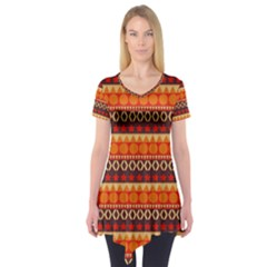 Abstract Lines Seamless Art  Pattern Short Sleeve Tunic