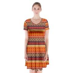 Abstract Lines Seamless Art  Pattern Short Sleeve V Neck Flare Dress