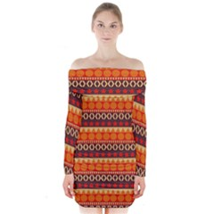 Abstract Lines Seamless Art  Pattern Long Sleeve Off Shoulder Dress