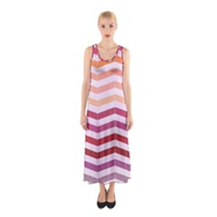 Abstract Vintage Lines Sleeveless Maxi Dress
