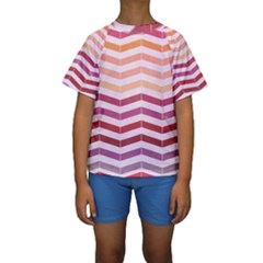 Abstract Vintage Lines Kids  Short Sleeve Swimwear