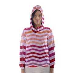 Abstract Vintage Lines Hooded Wind Breaker (Women)