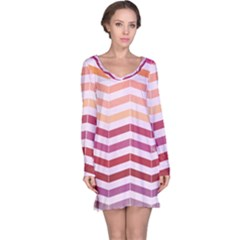 Abstract Vintage Lines Long Sleeve Nightdress