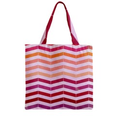 Abstract Vintage Lines Zipper Grocery Tote Bag