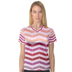Abstract Vintage Lines Women s V-Neck Sport Mesh Tee