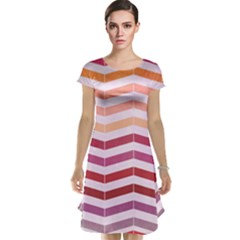 Abstract Vintage Lines Cap Sleeve Nightdress