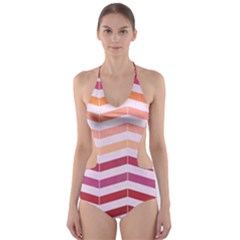 Abstract Vintage Lines Cut Out One Piece Swimsuit