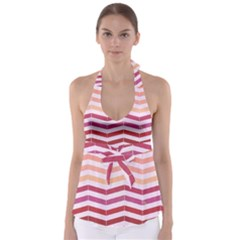 Abstract Vintage Lines Babydoll Tankini Top