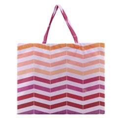 Abstract Vintage Lines Zipper Large Tote Bag