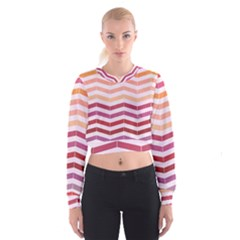 Abstract Vintage Lines Women s Cropped Sweatshirt