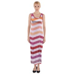 Abstract Vintage Lines Fitted Maxi Dress