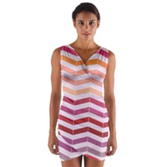 Abstract Vintage Lines Wrap Front Bodycon Dress