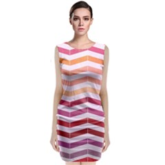Abstract Vintage Lines Classic Sleeveless Midi Dress