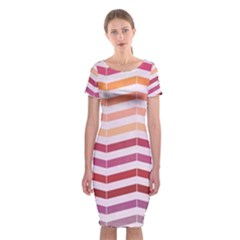 Abstract Vintage Lines Classic Short Sleeve Midi Dress