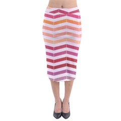 Abstract Vintage Lines Midi Pencil Skirt