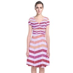 Abstract Vintage Lines Short Sleeve Front Wrap Dress
